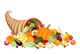Autumn cornucopia (horn of plenty) with fruits and vegetables.