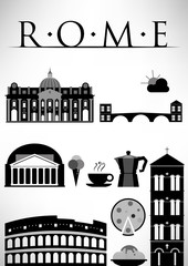Rome Symbols Design Poster