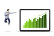 Businessman pointing at the business chart