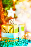 Christmas gift with abstract background