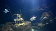 big aquarium simulations undersea and shark swimming in side