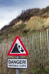 Danger Unstable Cliff Sign