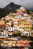 Vertical image of Positano with approaching storm