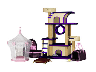 Cat tree, house, toys, bag