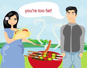 Husband gets upset, wife eats unhealthy food