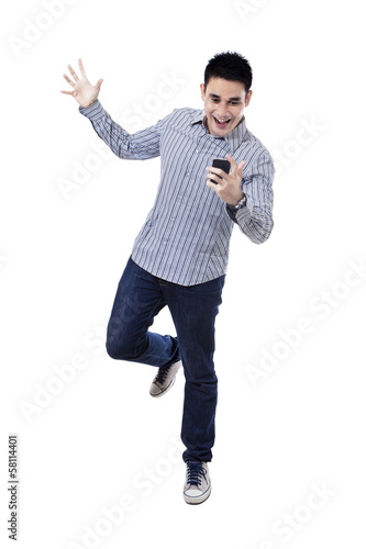 Happy asian man with mobile phone