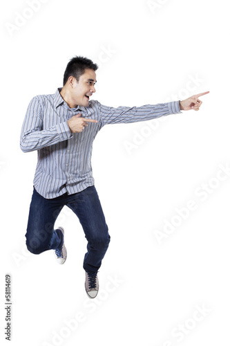 Happy man pointing something