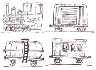 Vintage train with wagons sketch