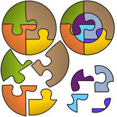 Round puzzle symbols