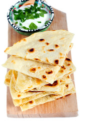 Slices of flatbread