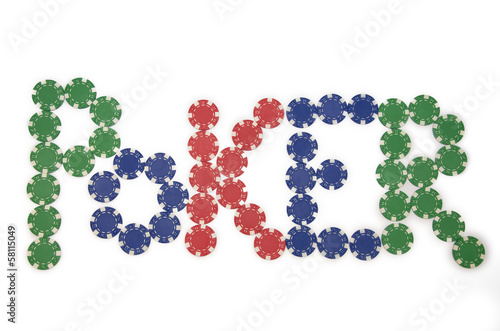 Poker spelled with chips