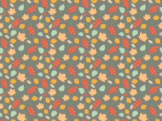 Seamless background with autumn leaves in vector
