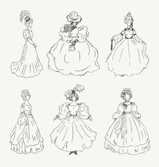 Collection of women sketches in retro historical clothes