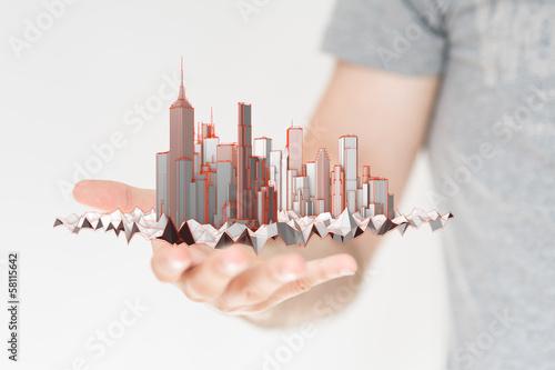 city hand