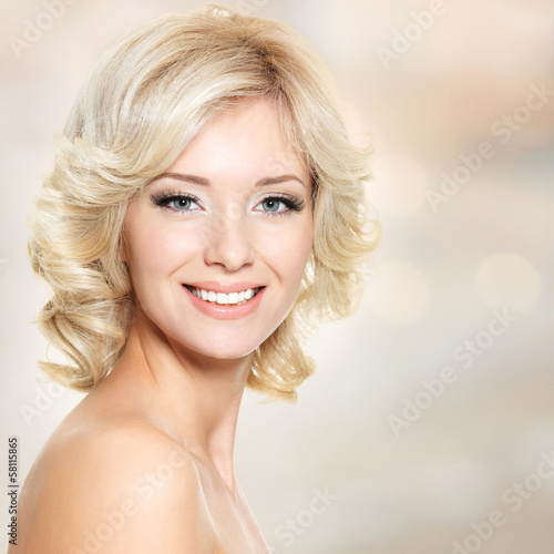 Clouseup face of beautiful woman with white hair