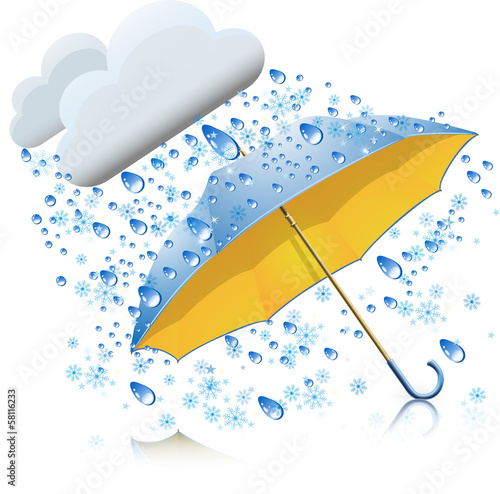 Snow with rain and umbrella