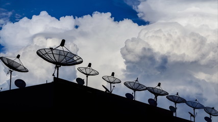 Time Lapse Silhouette Satellite Dish And Cloud Sky