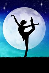 woman dancing in the moonlight