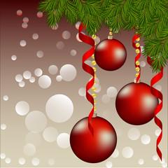красный рождественский фон с игрушками