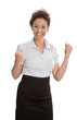 Begeisterte Frau in Bluse und Rock isoliert lachend