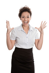 Erfolgreiche junge lachende Geschäftsfrau isoliert