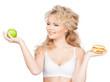 woman with apple and hamburger