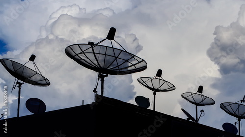 Time Lapse Silhouette Satellite Dish And Clouds Sky