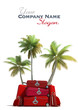 Tropical trip and red luggage