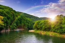 rivière coule par la côte rocheuse près de la forêt de montagne d'automne
