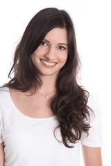 Junge schöne Frau - isoliert mit langen dunklen Haaren