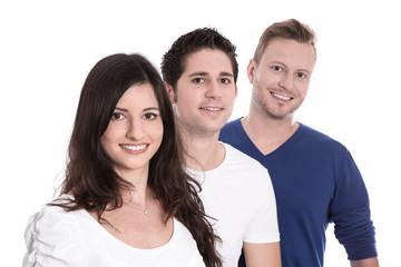 Gruppe junge Leute im Team - lachend - isoliert