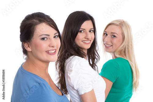 Drei junge Frauen lachend isoliert - Studentinnen
