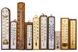 Leinwandbild Motiv Set of retro thermometers isolated on white