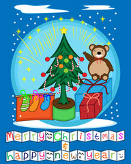 Decoration of Christmas Tree With Cute Brown Bear Present