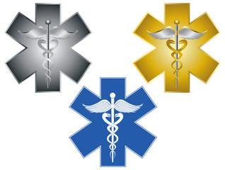 Star of Life Caduceus Medical Symbol Illustration