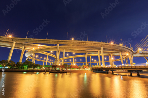 night light bridge with river at bangkok thailand