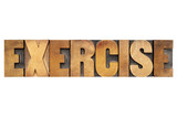 exercise word in wood type