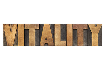 vitality word in wood type