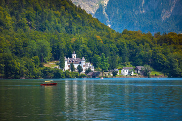 Castle on Hallstatt lake shore