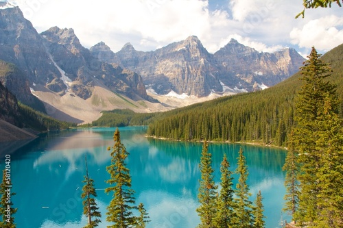 Beautiful Moraine Lake and Mountains
