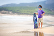 Little boy with surf board