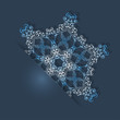 Christmas background with a large blue snowflake