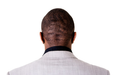 Black male head, back.