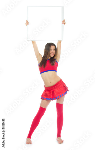 dancer from cheerleading team holding copy text space sign