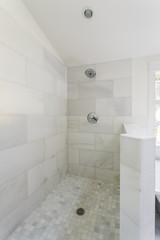 Modern marble tile walk-in shower