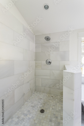 Modern marble tile walk-in shower