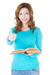 Beautiful casual woman holding a book and showing OK.