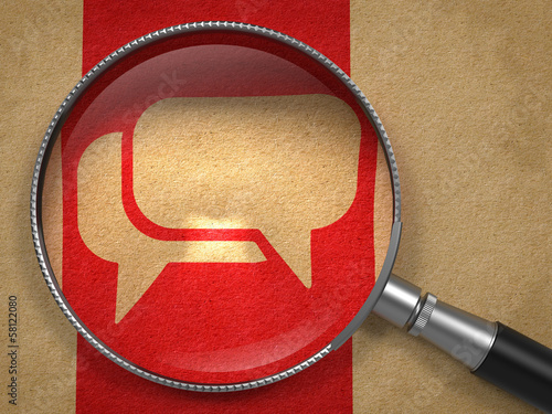 Magnifying Glass with Speech Bubble Icon.