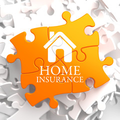 Insurance - Home Icon on Orange Puzzle.