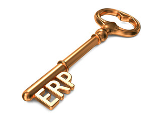 ERP - Golden Key. Business Concept.